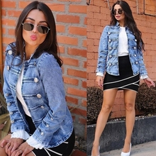Elegant Double-breasted Denim Jackets Women Vintage Jean Jacket Ladies Spring Slim Jeans Coats Long Sleeve Female