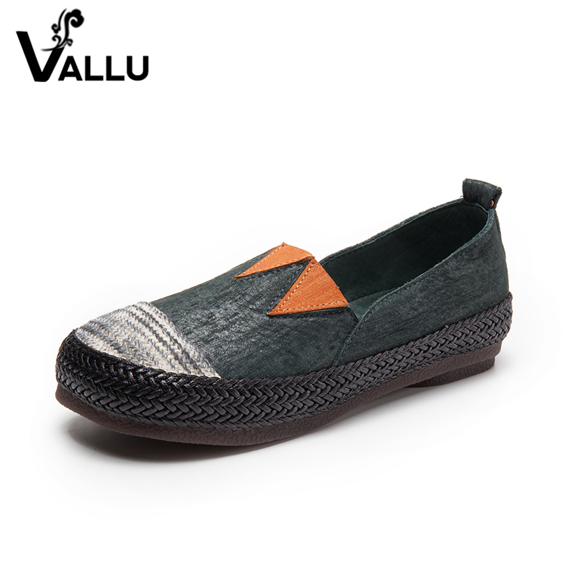Hot Sell Flat Shoes Women 2017 New Arrival Casual Shoes Genuine Leather Handmade Flats Girl Vintage Comfortable Ladies Shoes new 2016 european brand designer winter warm flats black leather rabbit fur loafers metal decorated hot sell flat shoes women