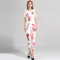 2018 Fashion Print Floral Sets Women Fashion Slim Short Sleeve O_neck Pullover+Calf Length Pants Female White Pretty Suits