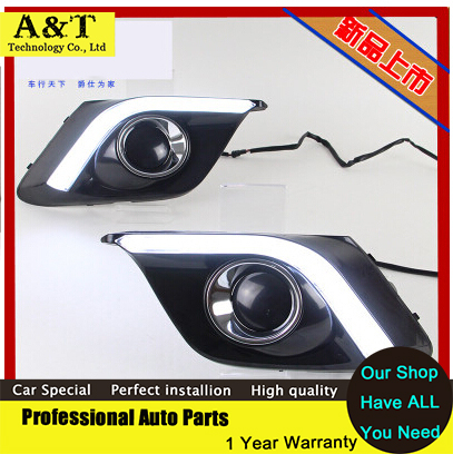 car styling new 2014 For Mazda 3 Axela led Daytime Running Light led Fog light High Quality NEW LED DRL Car Accessories new brand led daytime running light drl for mazda 3 axela 2014 16 with yellow turn signal guiding bar design top quality