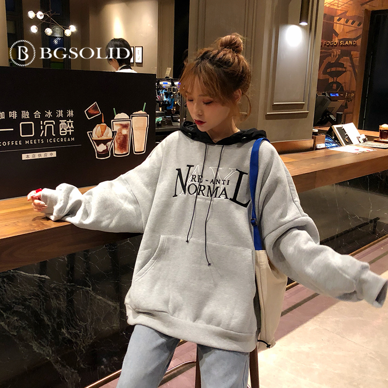 Spring 2019 new Korean version of loose embroidered letters plus plush thickened warm hooded women