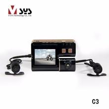 2017 Últimas Vsys C3 HD Impermeable de Los Deportes Casco de la Acción de La Bici de La Motocicleta de Doble Lente DVR Mini Cámara Grabadora de Vídeo