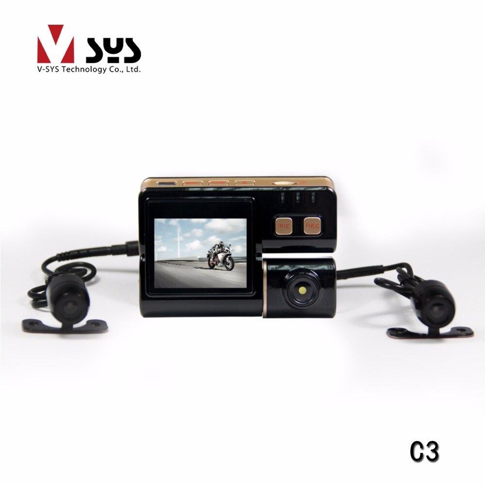 2018 dernier Vsys C3 HD sport étanche Action casque vélo vélo moto double lentille Mini DVR caméra enregistreur vidéo