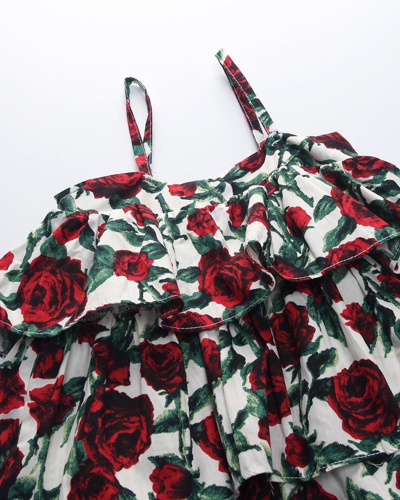 Хан издание 2017 модная летняя платье для девочек Розовое falbala соболезнуем платье принцессы для девочки детское платье