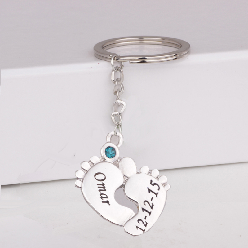Newest Baby Feet Print Keychain Custom Any Name & Date & Birthstone Birthday Gift For Family Drop Shipping Accept YP3055