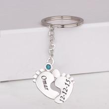 лучшая цена Newest Baby Feet Print Keychain Custom Any Name & Date & Birthstone Birthday Gift for Family Drop Shipping Accept YP3055