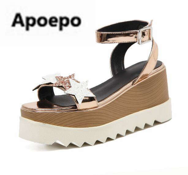 цена на Apopeo newest gold sliver bling bling women sandals summer platform high heels sandals women 8.5 cm Thick bottom wedges shoes