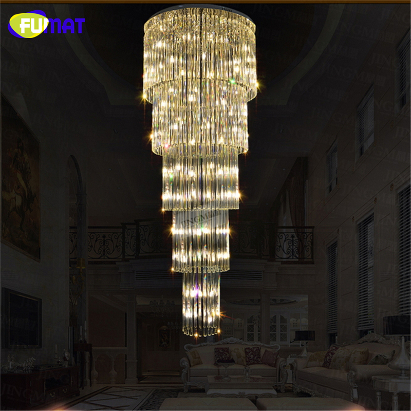 FUMAT K9 Crystal Chandelier Ceiling Double Staircase Luxurious Lamp Chrome Finished Lustre Crystal Large Chandelier Lights
