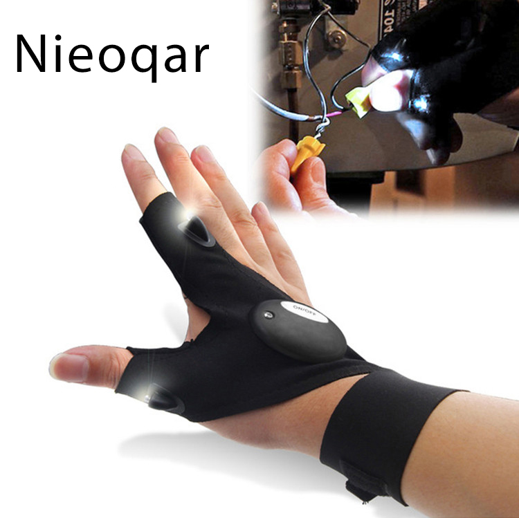 1PCS  Outdoor Fishing Magic Strap Fingerless Glove LED Flashlight Torch Cover Camping Hiking Lights Multipurpose Left Right Hand