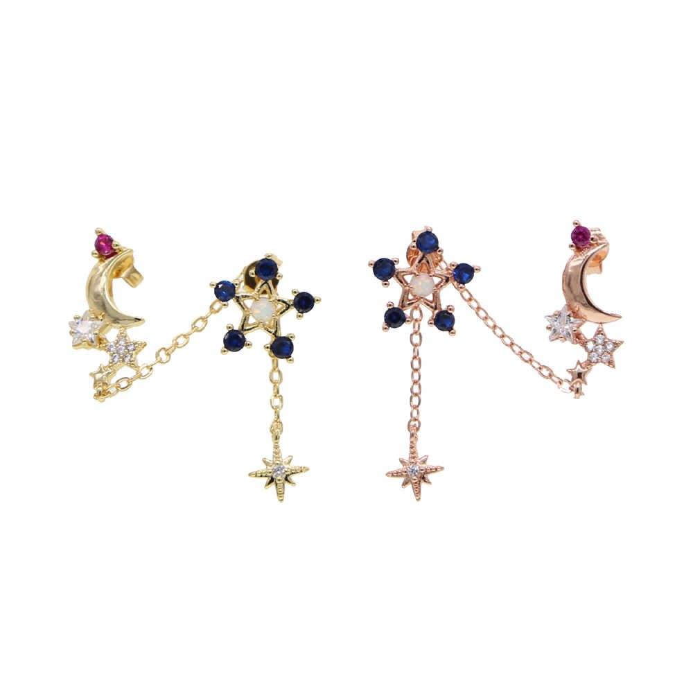 カラフルな Cz 舗装チェーン房ドロップイヤリングホワイトファイヤーオパールスタームーン starbrust デザインゴールドカラーファッション女性の花のイヤリング