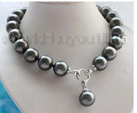 18 Natural 18mm Black Round Shell Pearl Necklace Pendant #f1721! Lovely Women's Wedding Jewelry Pretty!