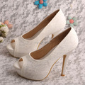 Wedopus Peep Toe Platform Pumps Ivory Lace Wedding Shoes Bridal Stiletto Heel