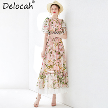 Delocah Women Summer Silk Dress Runway Fashion Butterfly Sleeve Lily Floral Print Elastic Waist Vintage Vacation Long Dresses