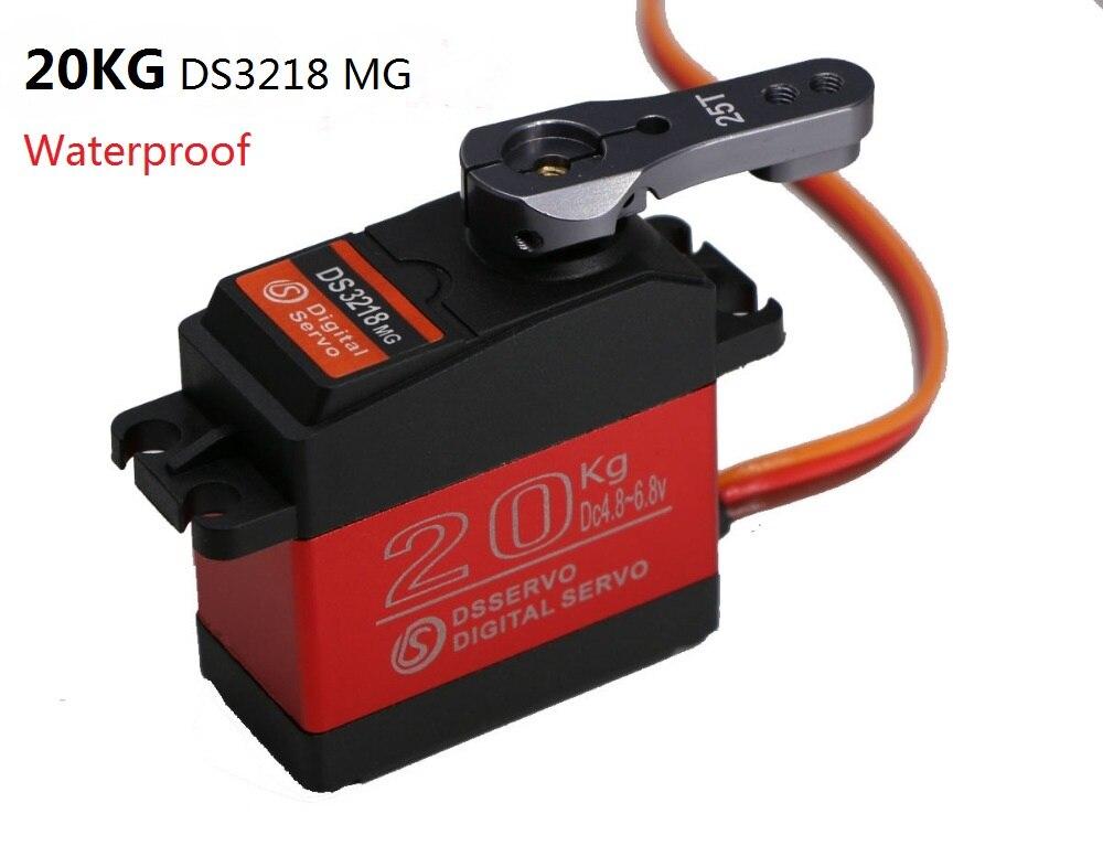 1 pçs à prova dwaterproof água servo ds3218 atualização de alta velocidade metal engrenagem digital servo baja servo 20 kg/. 09 s para 1/8 1/10 escala rc carros parte