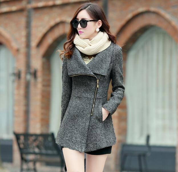 2018 Elegant Turn   Down   Collar Winter Warm Woolen Women   Coat   Jackets Female Casual Clothing Fashion Women Slim Overcoat Plus Size