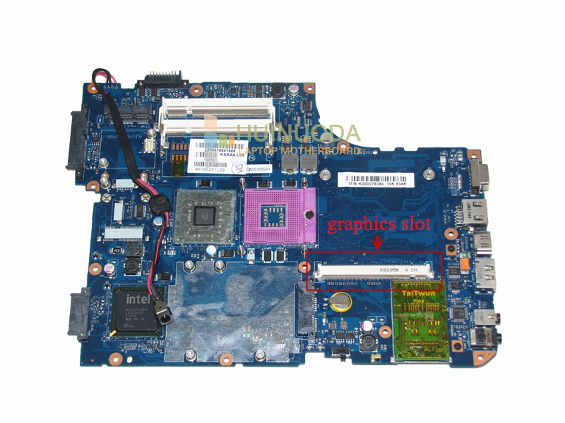 все цены на  laptop motherboard for toshiba A500 Intel gm45 ddr2 with graphics Slot K000078380 KSKAA LA-4991P Free CPU  онлайн