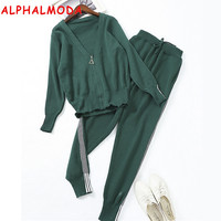 ALPHALMODA 2017 Autumn Winter Casual Knitting Cardigans and Pencil Pants 2pcs Sets Female Casual Knitting Trousers Sets