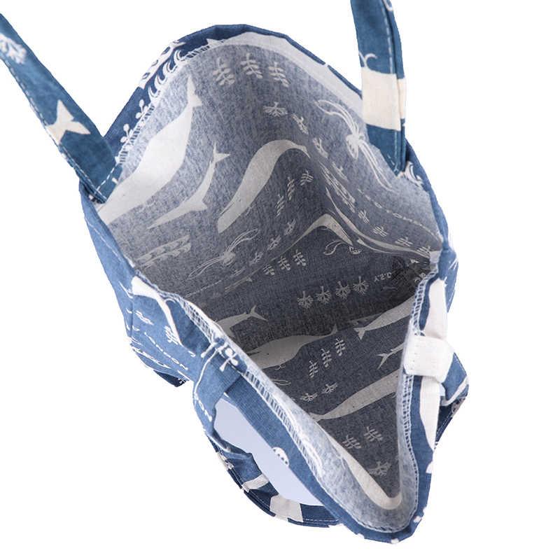 1PCS Durable 1 Schicht KEINE Futter Baumwolle Leinen Einkaufstasche Trage Schulter Tasche Druck Whale Octopus Sea Leben Einkaufen taschen