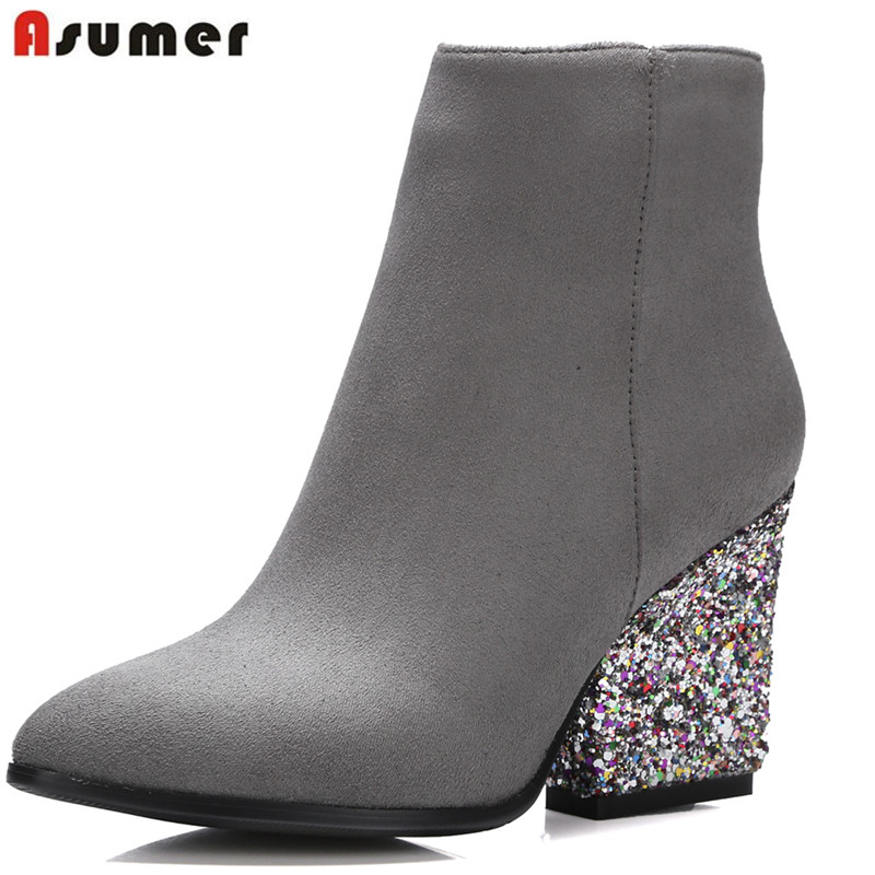 ASUMER Women ankle boots with zip pu nubuck leather mature pointed toe simple wedges heels sexy ladies spring autumn shoesASUMER Women ankle boots with zip pu nubuck leather mature pointed toe simple wedges heels sexy ladies spring autumn shoes