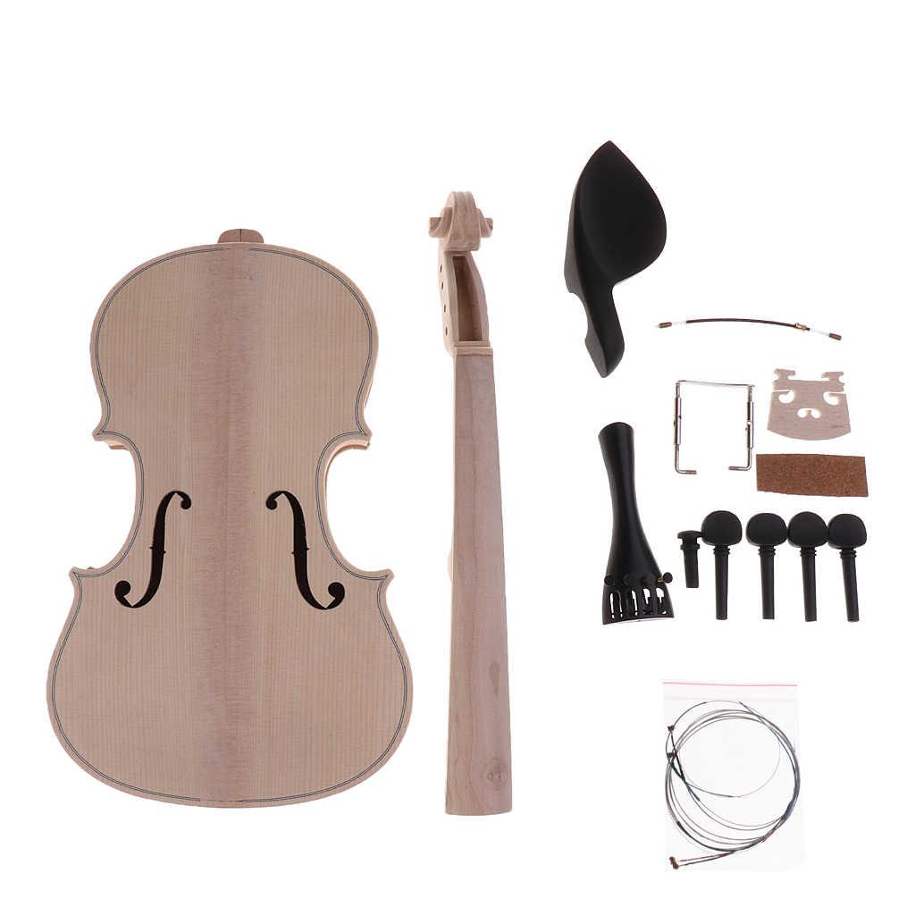 1 مجموعة خشب الصنوبر لم تنته 4/4 حجم الكمان DIY أطقم كمان المواد هدية للأطفال الأصدقاء