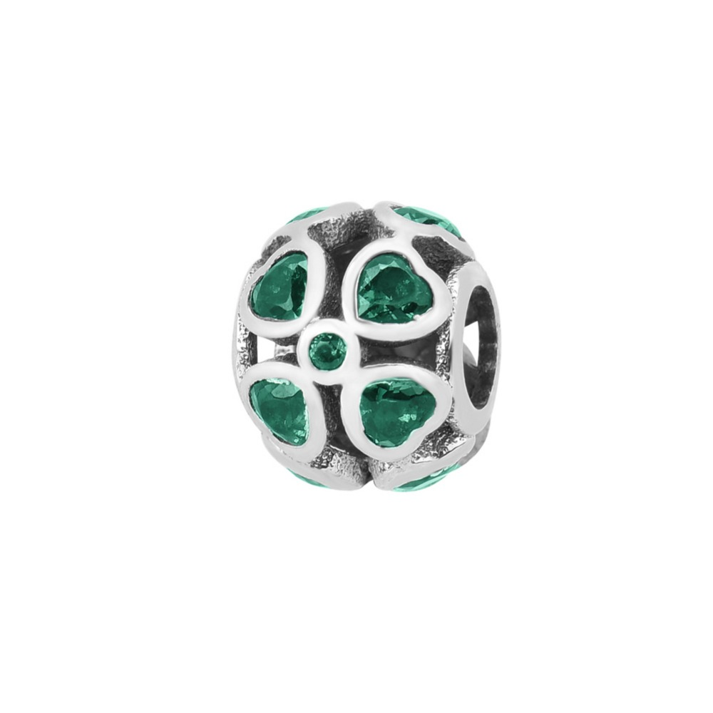 ZMZY 925 Sterling Silver Charms Green CZ Crystal Heart Clover Beads fit Pandora Charm Bracelet