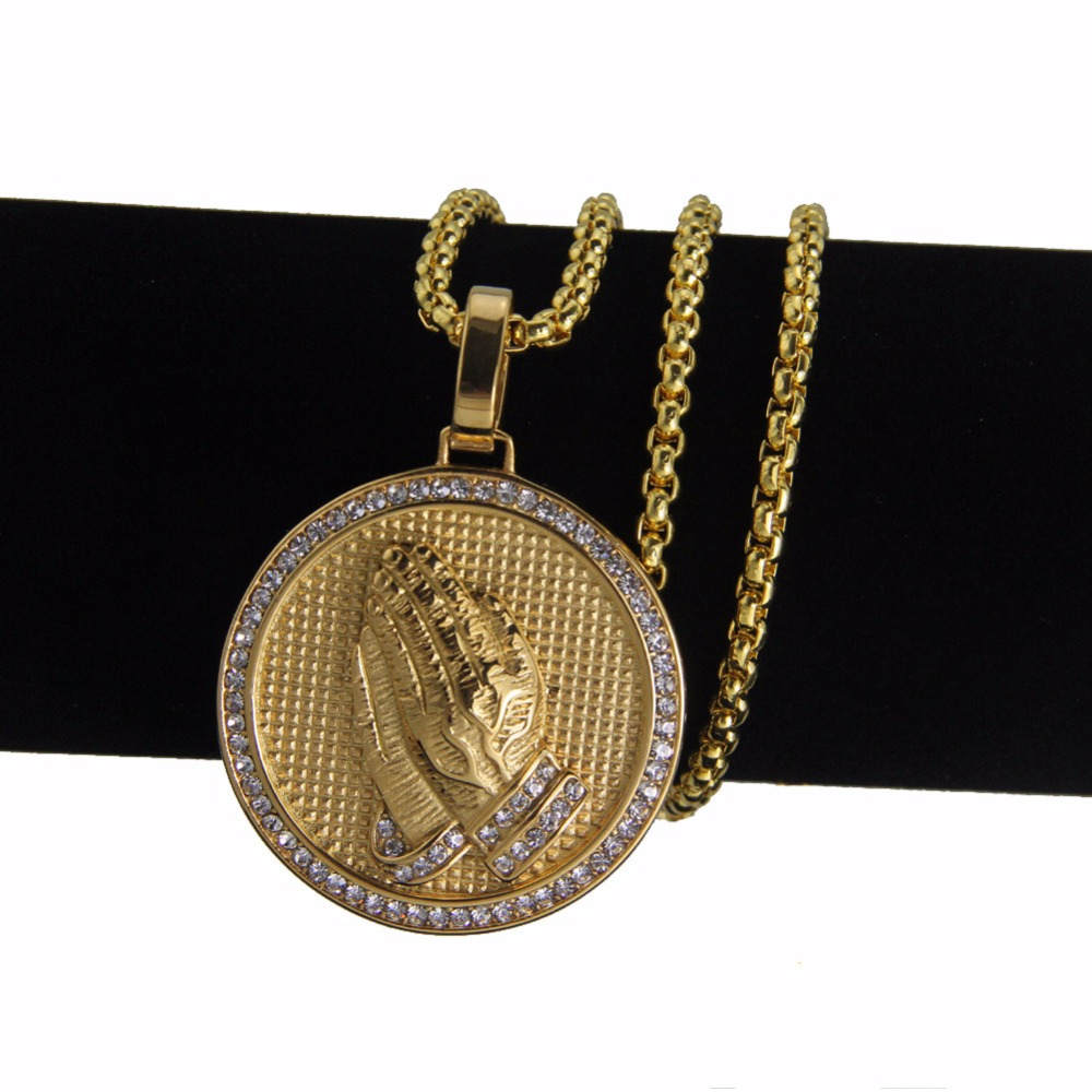 Men hip hop jewelry iced out bling prayer hand pendant for Bling jewelry coupon code