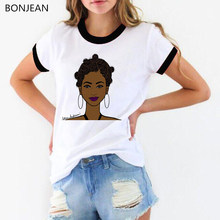 Melanin shirt Women pink lip black girl printed tshirt femme vogue white t shirt summer round neck top female t-shirt streetwear(China)