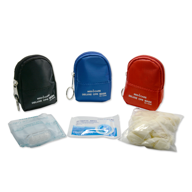 10 Pieces CPR Rescue Mask Keychain First Aid Kits CPR One way Valve Mask Swabs And Gloves For CPR First Aid Training