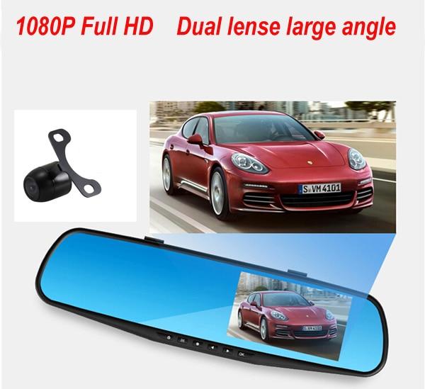 2016 Promotion Double Caméra Voiture Dvr Caméra Rétroviseur Dash Cam G-Capteur HD 1080 P 4.3 ''140 Degrés Haute Qualité Livraison gratuite