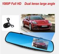2016 Promotion Dual Camera Car Dvr Camera Rearview Mirror Dash Cam G Sensor HD 1080P 4.3'' 140 Degree High Quality Free Shipping