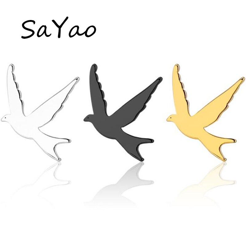 SaYao 2 Piece Stainless Steel Stud Earring 0.8mm Pigeon Earrings Tragus Ear Piercing Cute Love Bird Earrings Men Women Gift