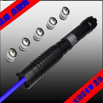 Strong Power Military 100w 100000m Blue Laser Pointer 450nm Flashlight Focus light Burning Match/Black/Burn Cigarettes+Gift Box