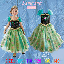Retail wholesale baby girl Girls Princess party Dress Role play Elsa Anna Summer princess Costume Anna costume kids clothing(China)
