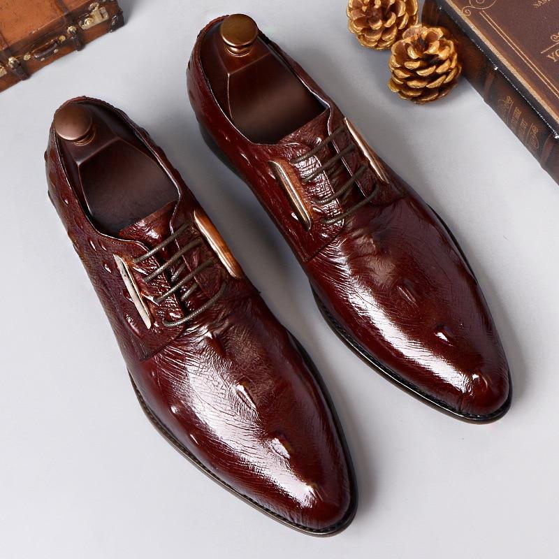 Crocodile print men's shoes suit business shoes in autumn and winter Genuine Leather luxury brand men shoes dress shoes men