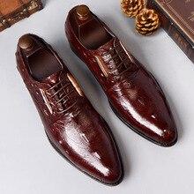 Crocodile print men's shoes suit business shoes in
