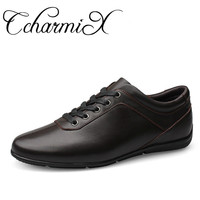 CcharmiX Large Size 36 47 Full Grain Leather Men Casual Shoes Handmade Fashion Comfortable Breathable Men