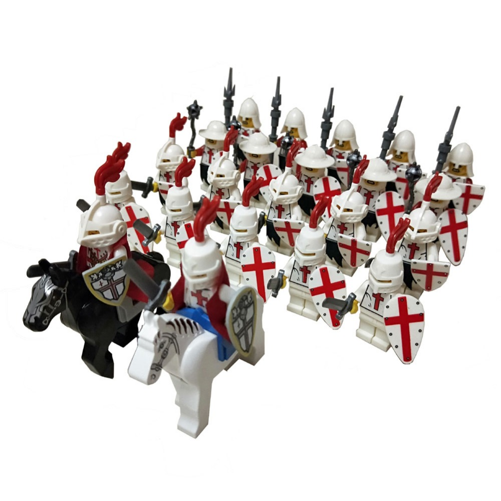 24pcs Dragoon Castle Royal King's Knight Crusaders Knights Battle Steed Rome Cavalry Warrior Building Block Mini Figure
