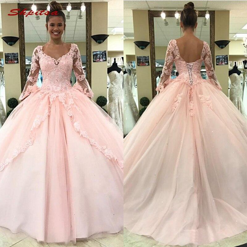 8c97f524295 Розовый с длинным рукавом кружево Бальные платья бальное платье тюль  выпускного вечера дебютантка шестнадцать 15 сладкий