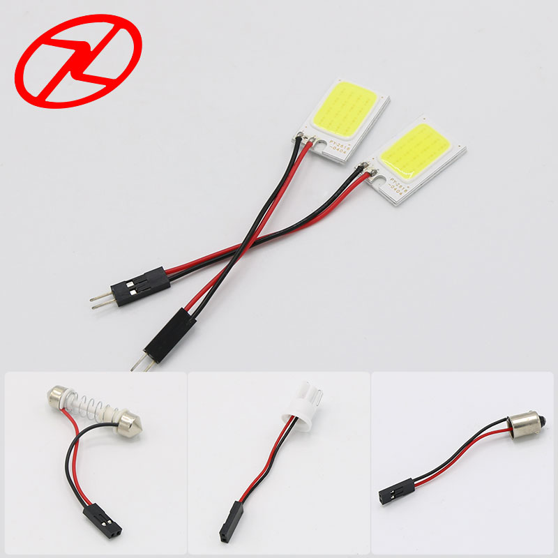 2Pcs 26mm * 16mm Cars T10 Festoon ba9s Dome Adapter Panel Light COB - Luces del coche