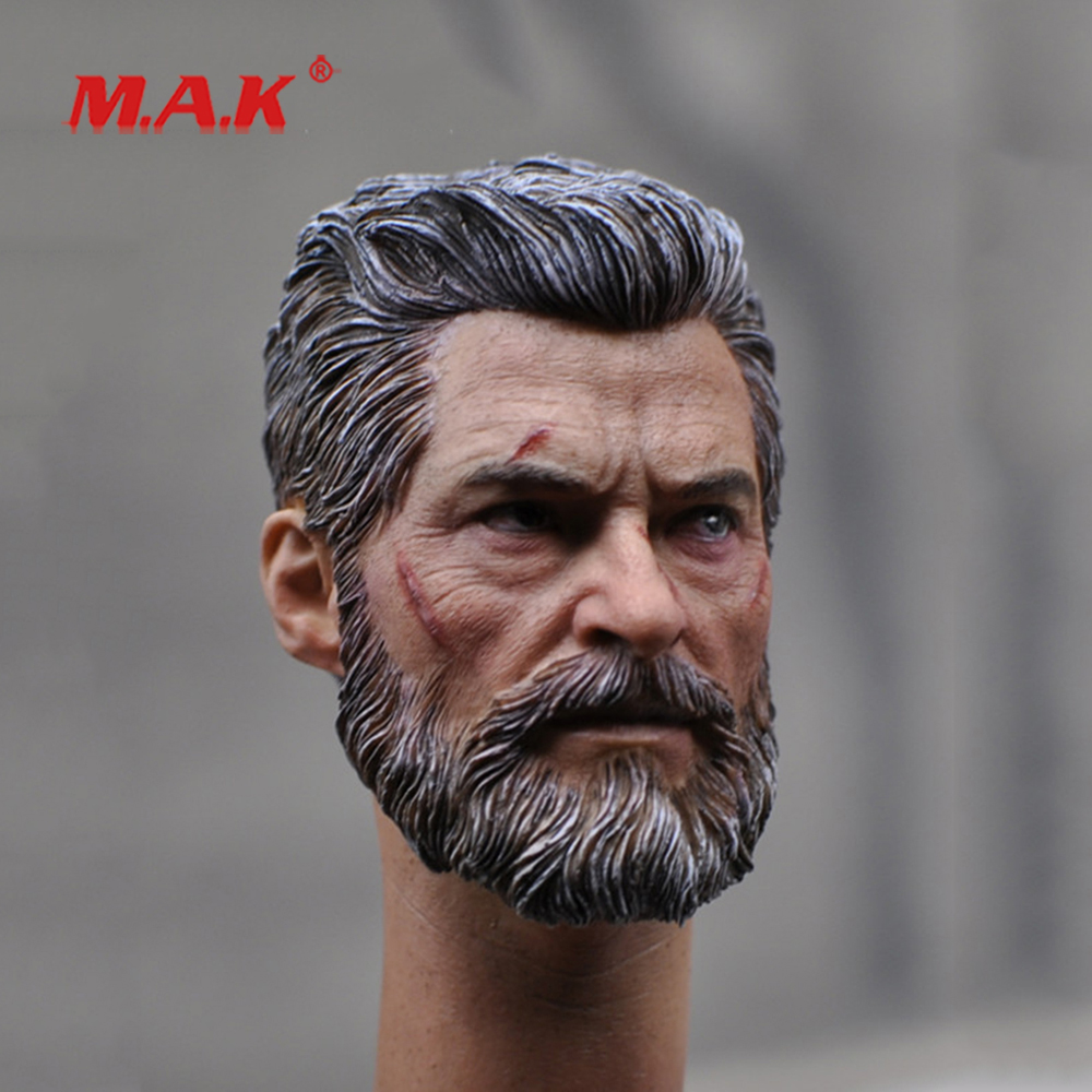 New 1:6Scale Male Head Sculpt in Wolverine Logan Battle Damage model with Planted Hair fit 12 Action Figure for Collection