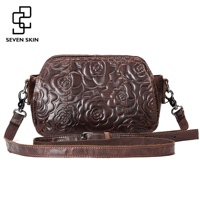 2017 Fashion Embossed Flower Women Messenger Bag Genuine Leather Female Bag Vintage Shoulder Bags Chinese Style Ladies Handbag