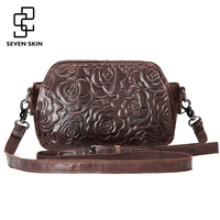 2016 Fashion Embossed Flower Women Messenger Bag Genuine Leather Female Bag Vintage Shoulder Bags Chinese Style