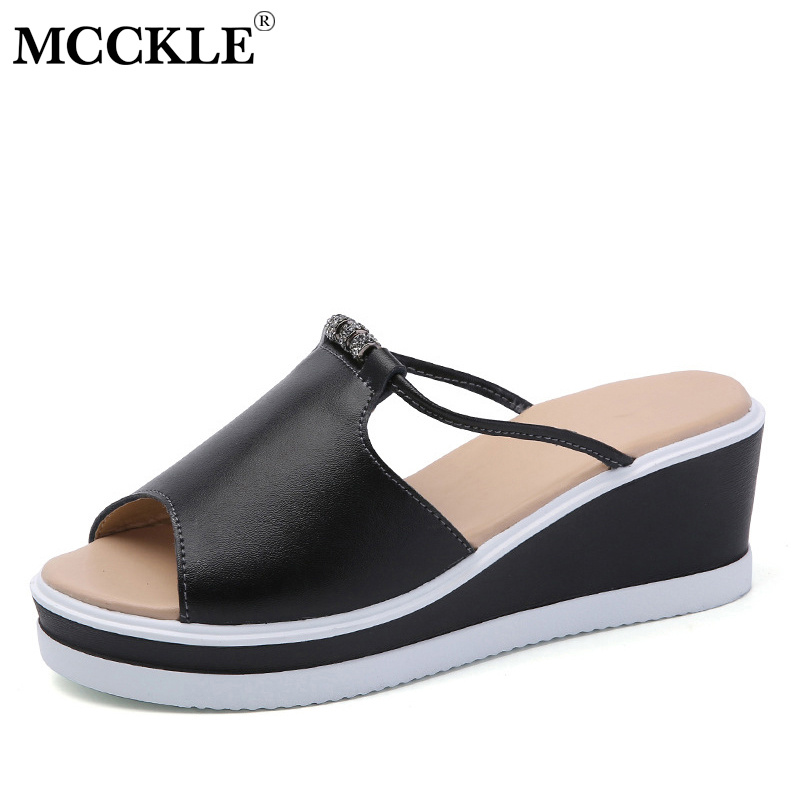 MCCKLE Women Slippers Fashion Beading Slides Female Platform Wedges Shoes Hollow Cut Outs Woman Slides Casual Summer Footwear