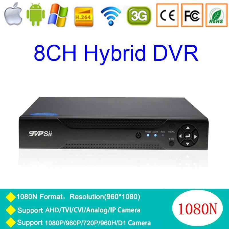 N-eye App 1080P 2mp CCTV Camera 1080N 8CH Surveillance Video Recorder Hybrid 5 in 1 WIFI Onvif NVR TVI CVI AHD DVR Free Shpping new 4 ch channel h 264 home network 5 in 1 mini cctv 1080p hdmi ahd tvi cvi dvr onvif nvr p2p security video recorder systems