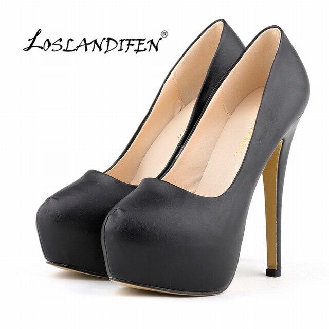 c532c76a3a LOSLANDIFEN Platform Pumps Women Ultra Thin Heels Fashion Matt Bridal Shoes  Ladies Sexy Extremely High Heels Shoes Black 817-1MA