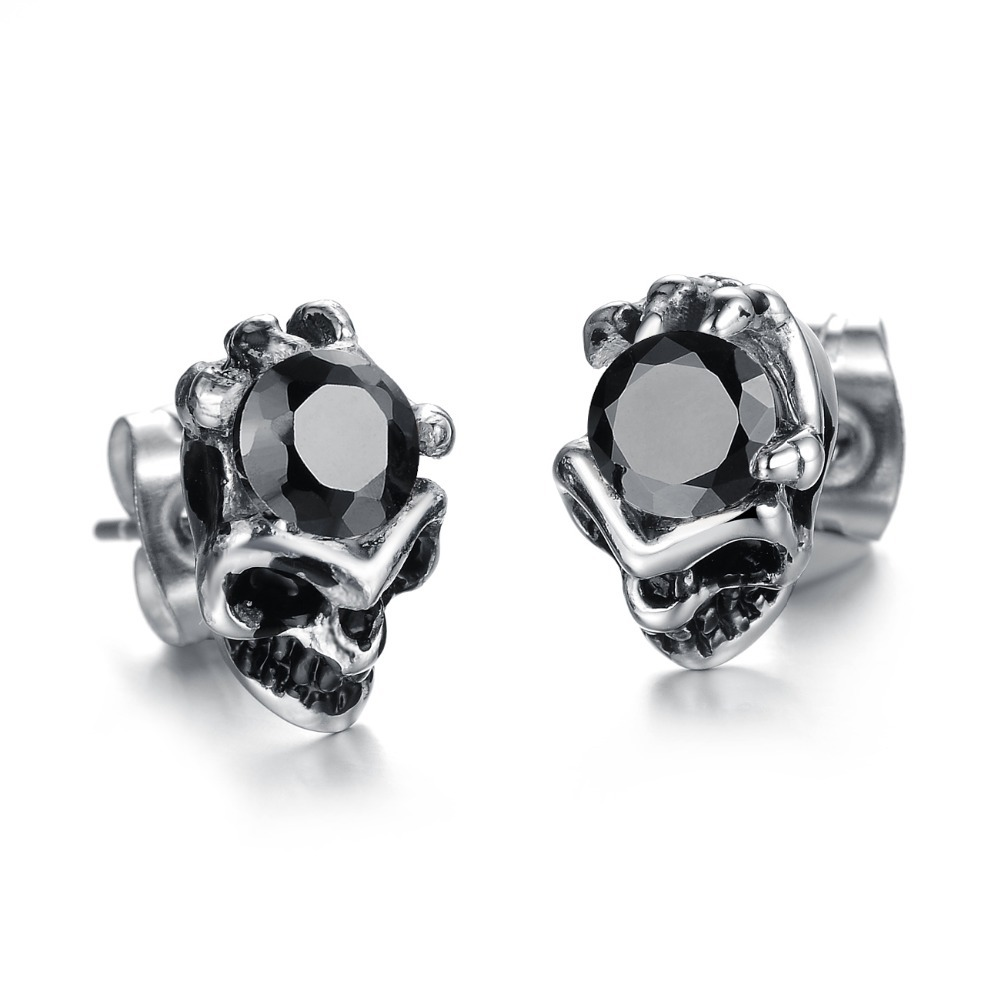Punk Rock Style Skull Cool Stud Earrings For Girls&boys Shiny Austrian  Crystal Stainless Titanium Steel Jewelry