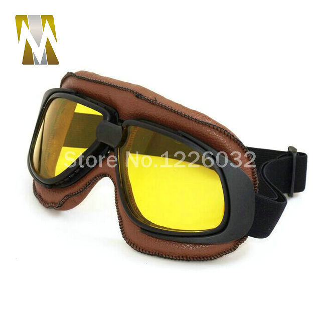 Brown Leather Scooter Goggles Motorcycle Motorcycle Glasses Riding Racing Bike Driving Goggle Motocross Glasses Sunglasses
