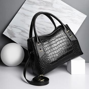 FoxTail & Lily Women Real Leather Handbags Crocodile Pattern Genuine Leather Shoulder Bag High Fashion Designer Crossbody Bags