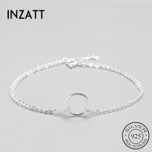 INZATT минималистичный 925 пробы Серебряный Круглый браслет для женщин, круглая Геометрическая металлическая цепочка, хорошее ювелирное изделие, подарок на день рождения