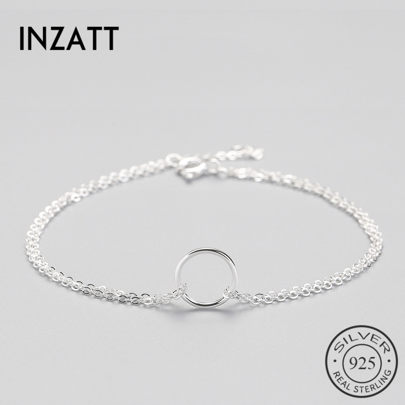INZATT Minimalist 925 Sterling Silver Circle Bracelet For Women Round Geometric Metal Chain Fine Jewelry Party Birthday Gift
